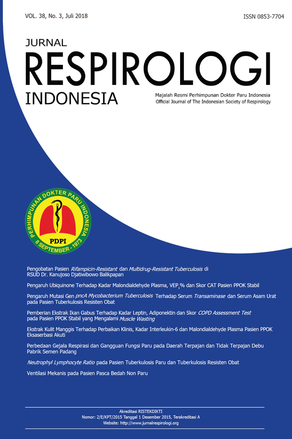 Jurnal Respirologi Indonesia Volume 38 Issue 3 (July 2018)